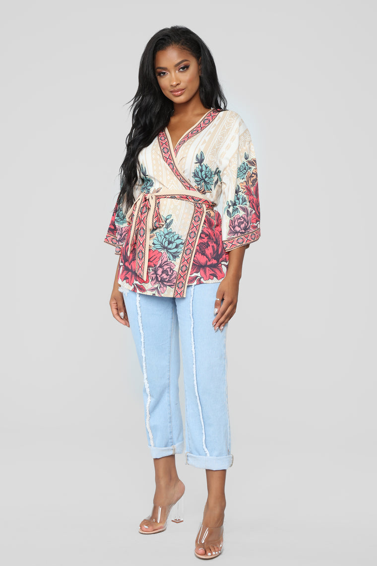 Island Fever Wrap Top - Taupe