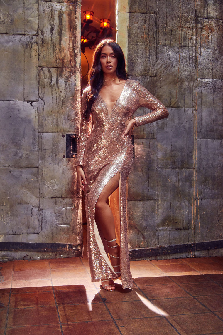 Ask Me If I'm Famous Sequin Maxi Dress - Rose Gold