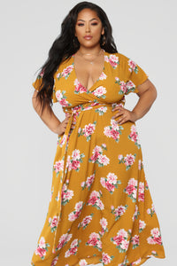 Water Me Floral Dress - Mustard