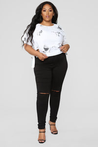 Blakely Crop Top - White/Black Angle 9