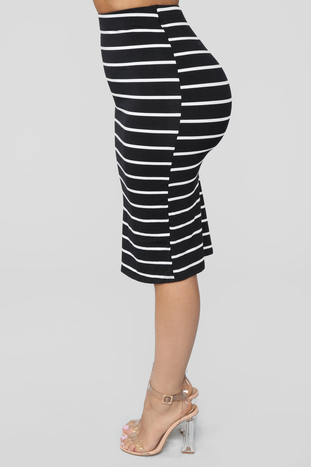 Lets Keep Things Casual Striped Skirt - Black/White