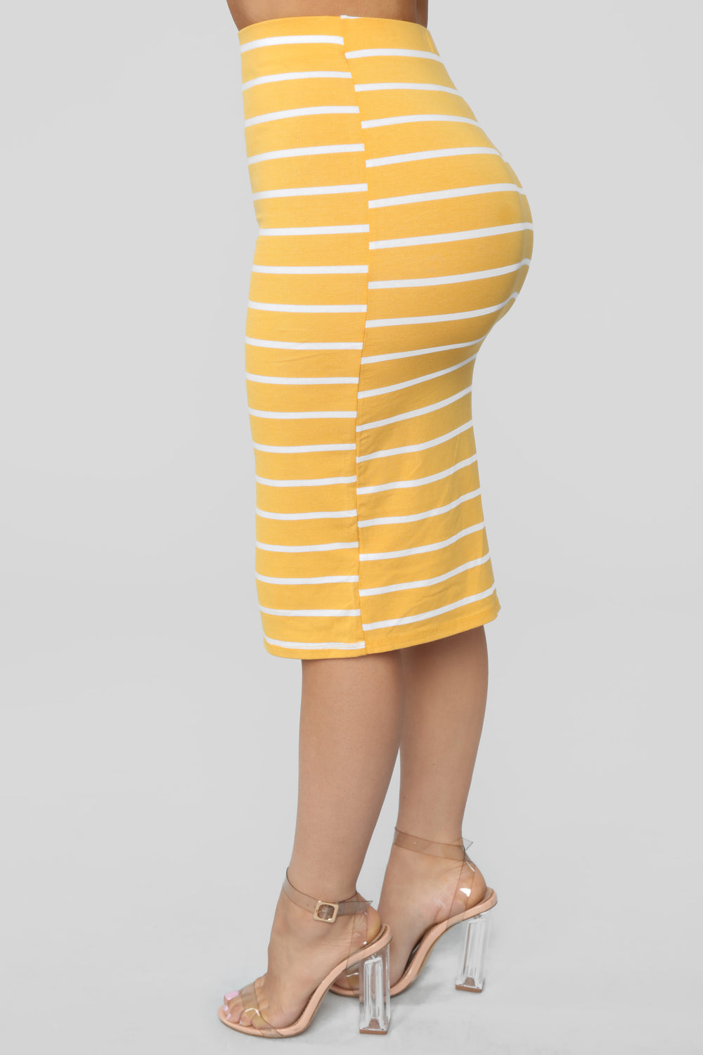 Lets Keep Things Casual Striped Skirt - Yellow/combo