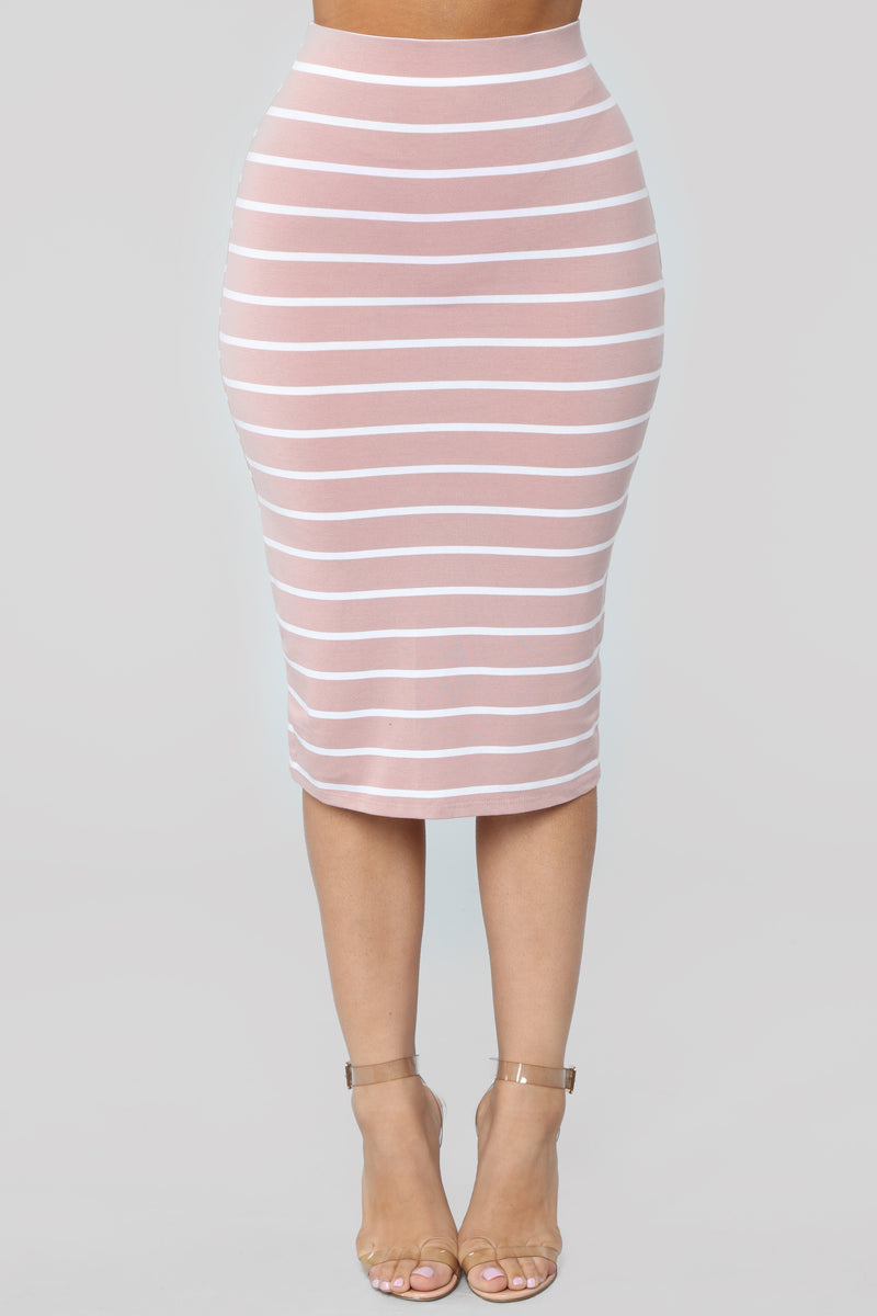 Lets Keep Things Casual Striped Skirt - Mauve/combo