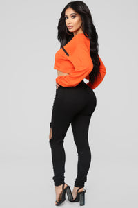 Limited Edition Long Sleeve Crop Top - Orange