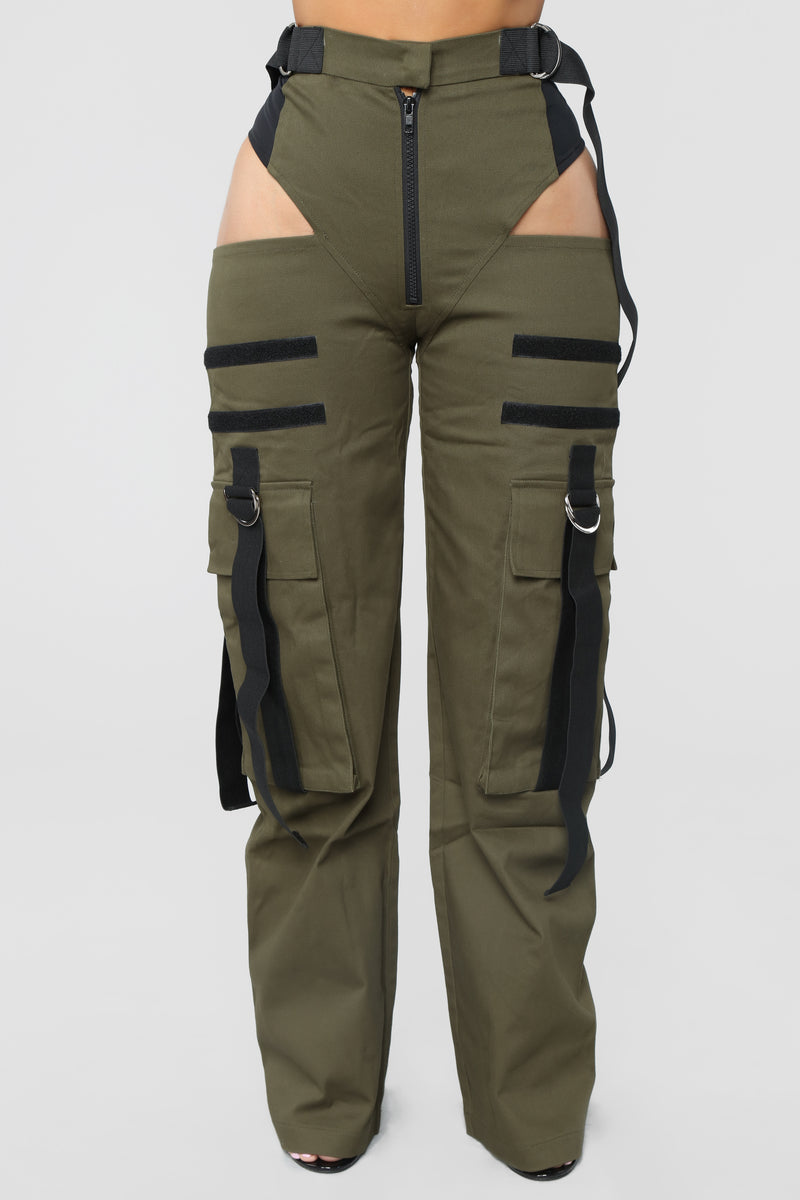 Candice Cut Out Cargo Pants - Olive