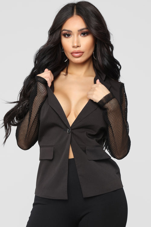 Don't Mesh Blazer - Black