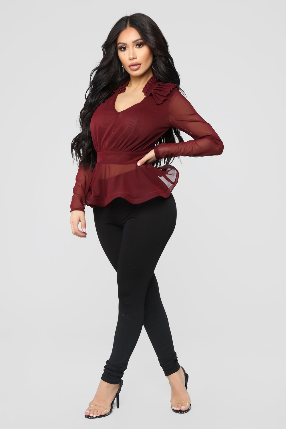 Don't Get Ruffled Blouse - Burgundy