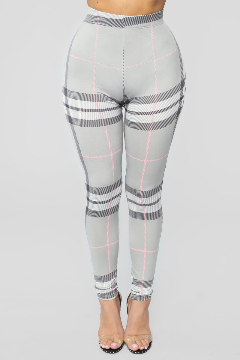 Plaid About It Leggings - Grey