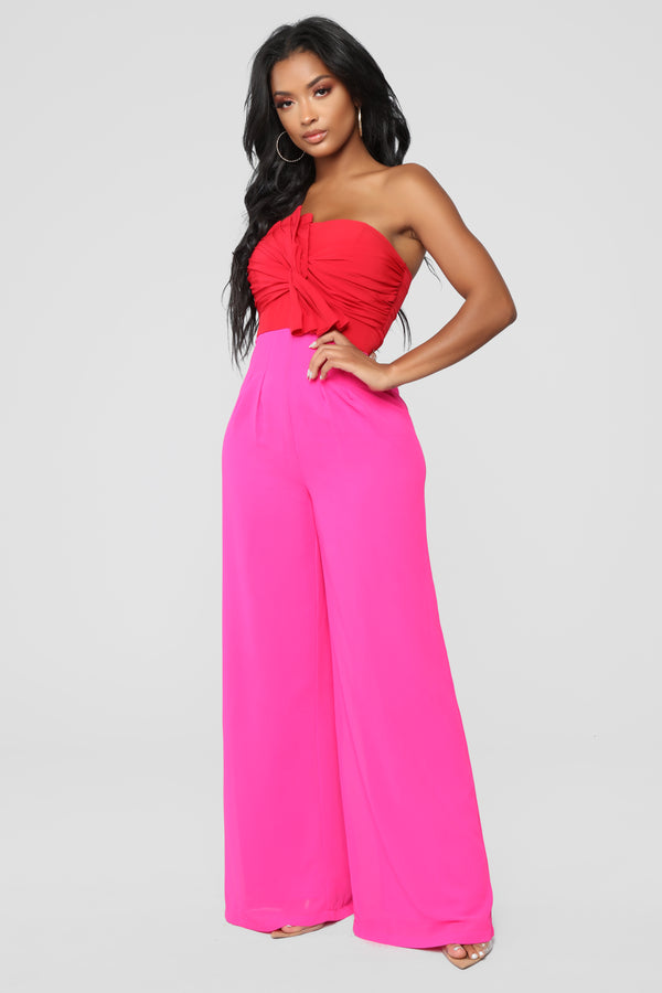 6470a3a0576f High Fashion Jumpsuit - Pink Red
