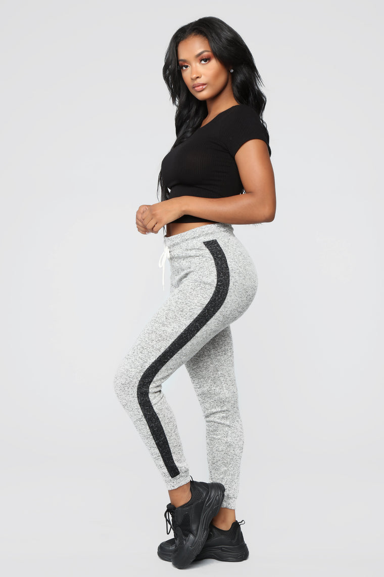 Elina Contrast Side Leggings - Grey/Black