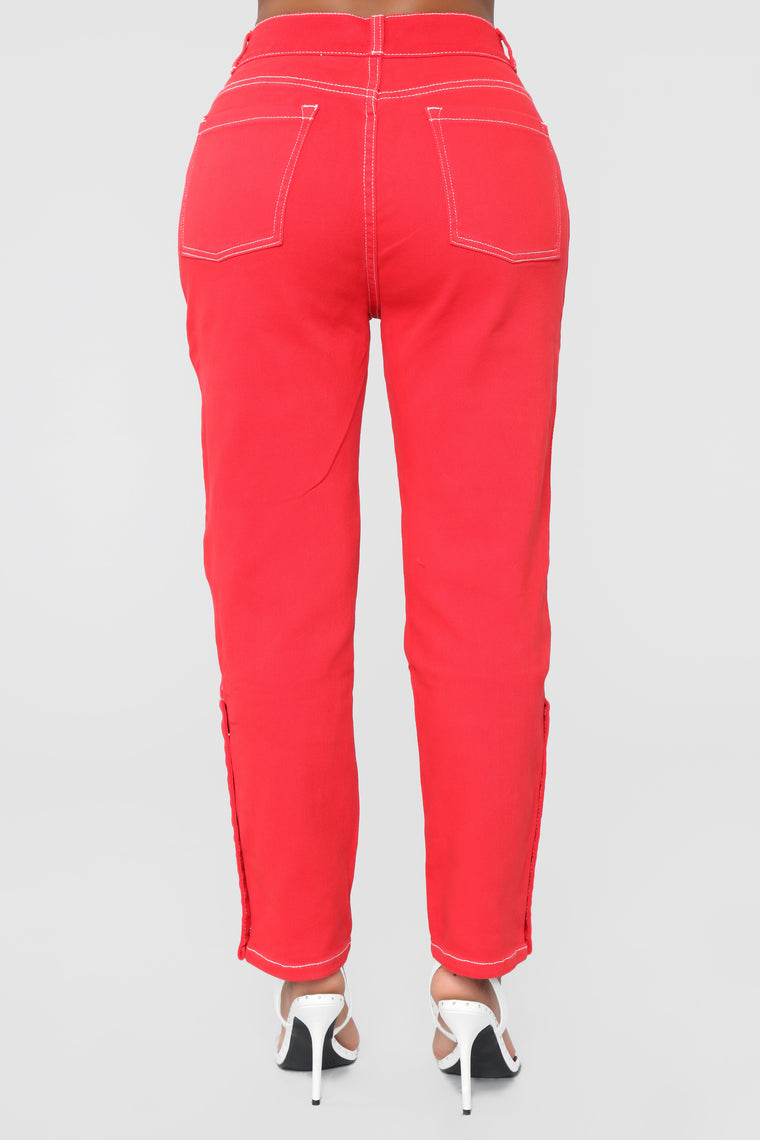 Thrilling High Rise Boyfriend Jeans - Red