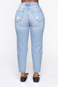 Shoot The Gaps Distressed Mom Jeans - Medium Blue Wash