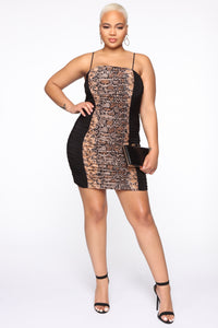 First Instinct Snake Ruched Dress - Black/combo Angle 5