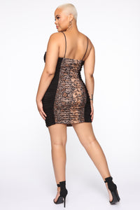 First Instinct Snake Ruched Dress - Black/combo Angle 6