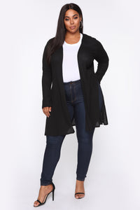 Nita Ribbed Cardigan - Black Angle 6