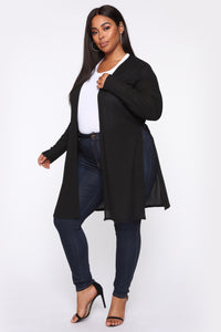 Nita Ribbed Cardigan - Black Angle 8