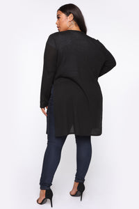 Nita Ribbed Cardigan - Black Angle 9