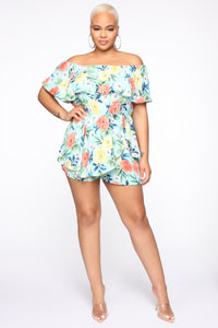 Loving The View Floral Romper - Mint/Combo