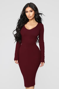 Beyond Belted Dress - Wine