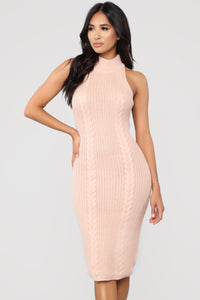 It's A Date Knit Midi Dress - Blush