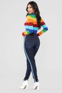 Mixed Media High Rise Jeans - Dark Denim Angle 4