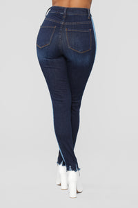 Mixed Media High Rise Jeans - Dark Denim Angle 5