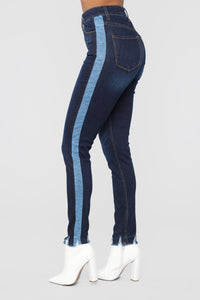 Mixed Media High Rise Jeans - Dark Denim Angle 1