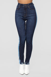 Mixed Media High Rise Jeans - Dark Denim Angle 3
