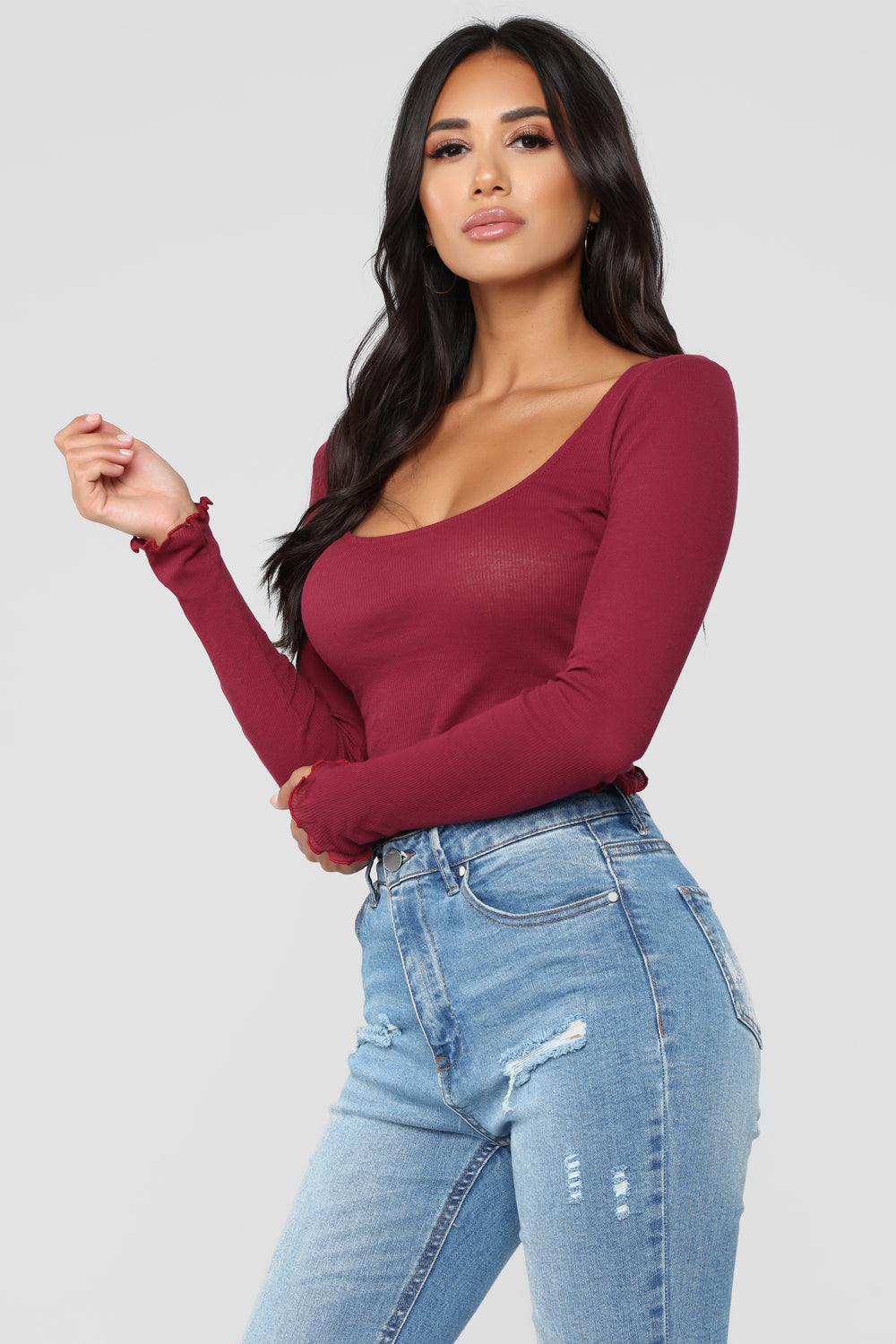 Goes With Everything Long Sleeve Top - Burgundy