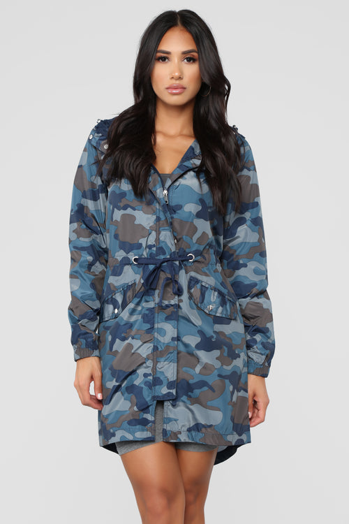 Not A Snitch Utility Jacket - Blue Camo