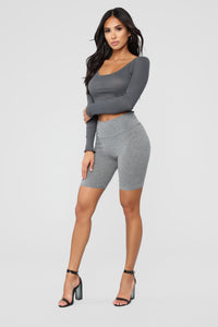 Goes With Everything Long Sleeve Top - Charcoal
