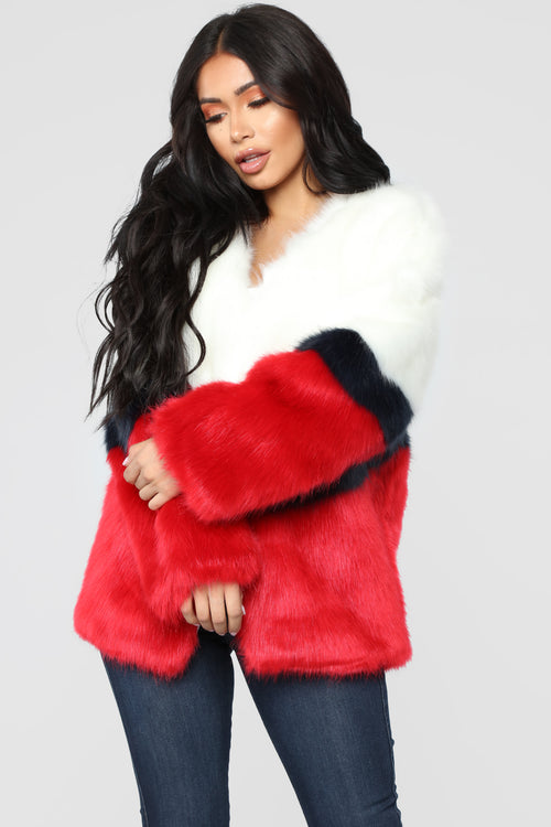Furgettin' Haters Faux Fur Jacket - Red/Multi