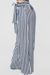 Brea Stripe Pants - Navy/White