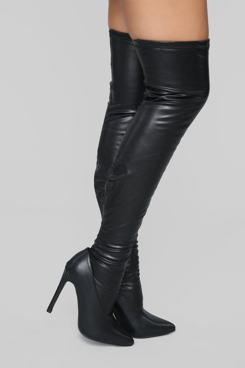 Purrfect Over The Knee Boot - Black
