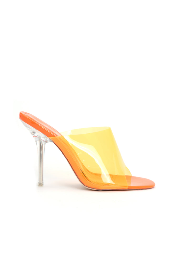 Stop Killing My Vibe Heeled Sandal - Neon Orange