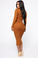 Rameena Long Sleeve Midi Dress - Cognac