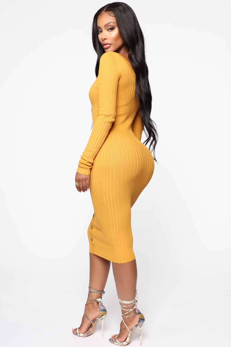 Gimme The Time Of Day Sweater Midi Dress - Mustard