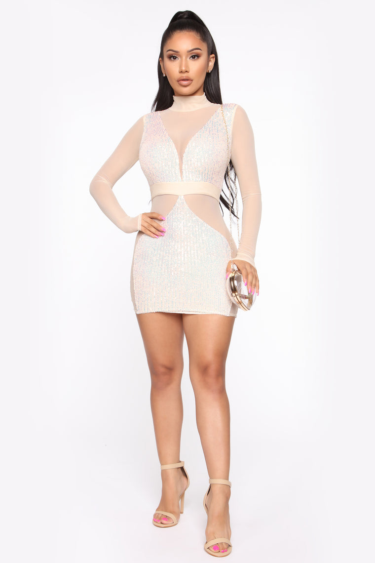 Sparkle Up Sequin Mini Dress - Cream Hologram