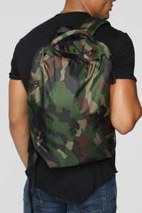 2 In One Strap Backpack - Green Camo