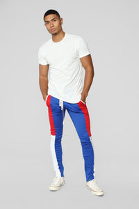 Elevated Track Pants - Blue/combo Angle 2