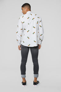 I Love Pineapples Long Sleeve Woven Top - White/Black