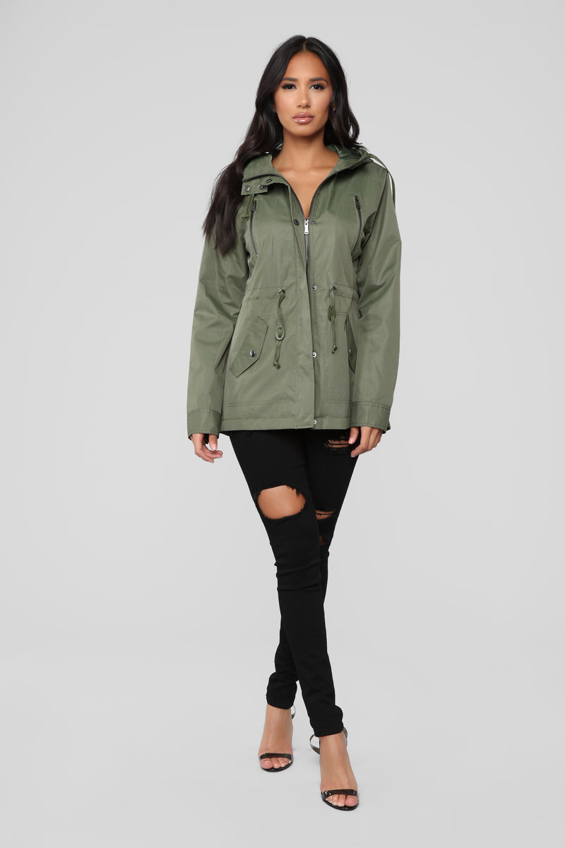 No Time To Waste Hooded Jacket - Olive