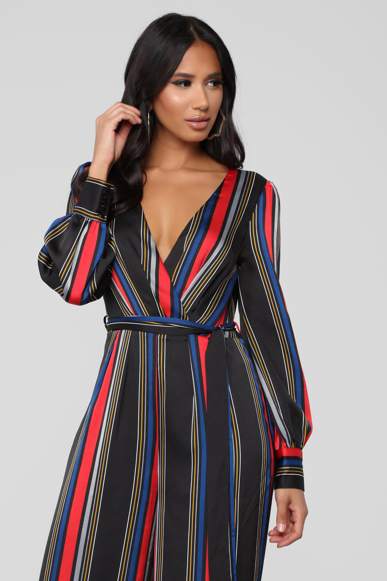 Don't Say A Word Jumpsuit - Red/Multi