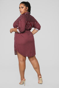 Mrs. Right Stripe Dress - Burgundy