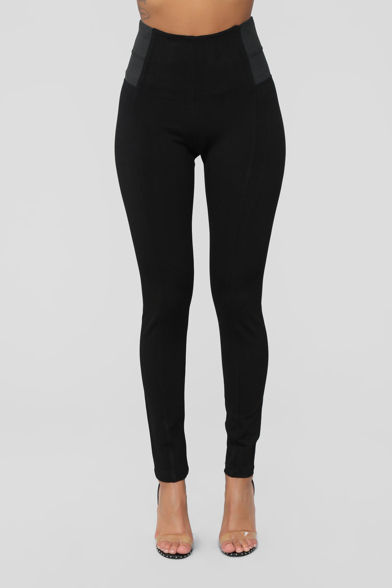 Halle Ponte Leggings - Black