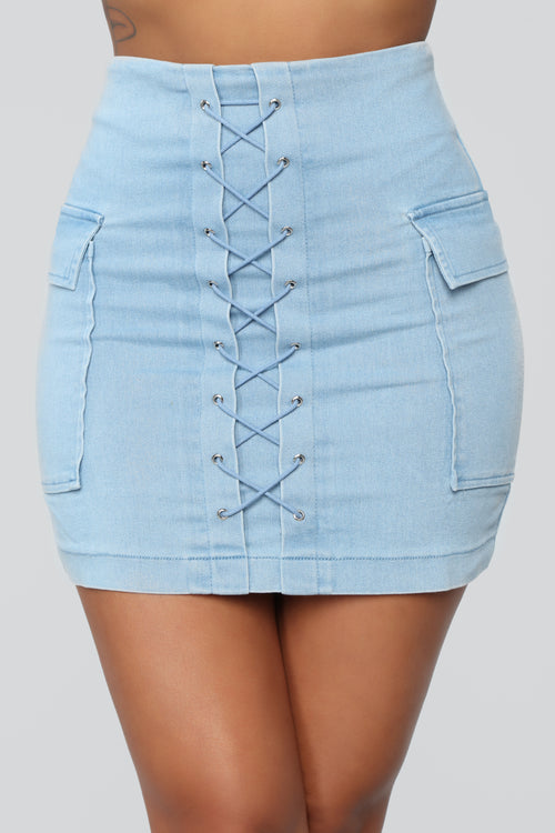Killing It Denim Skirt - Light Blue