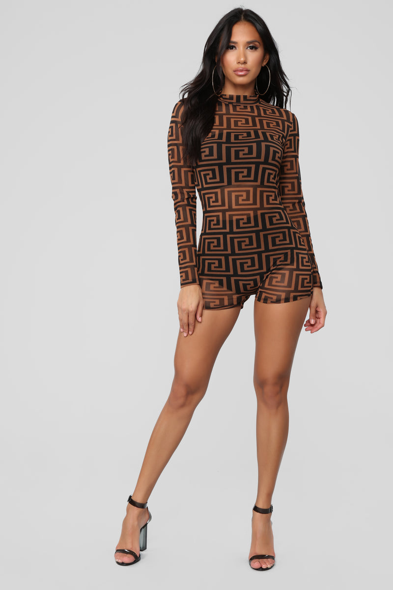Babe Status Romper - Brown/Black