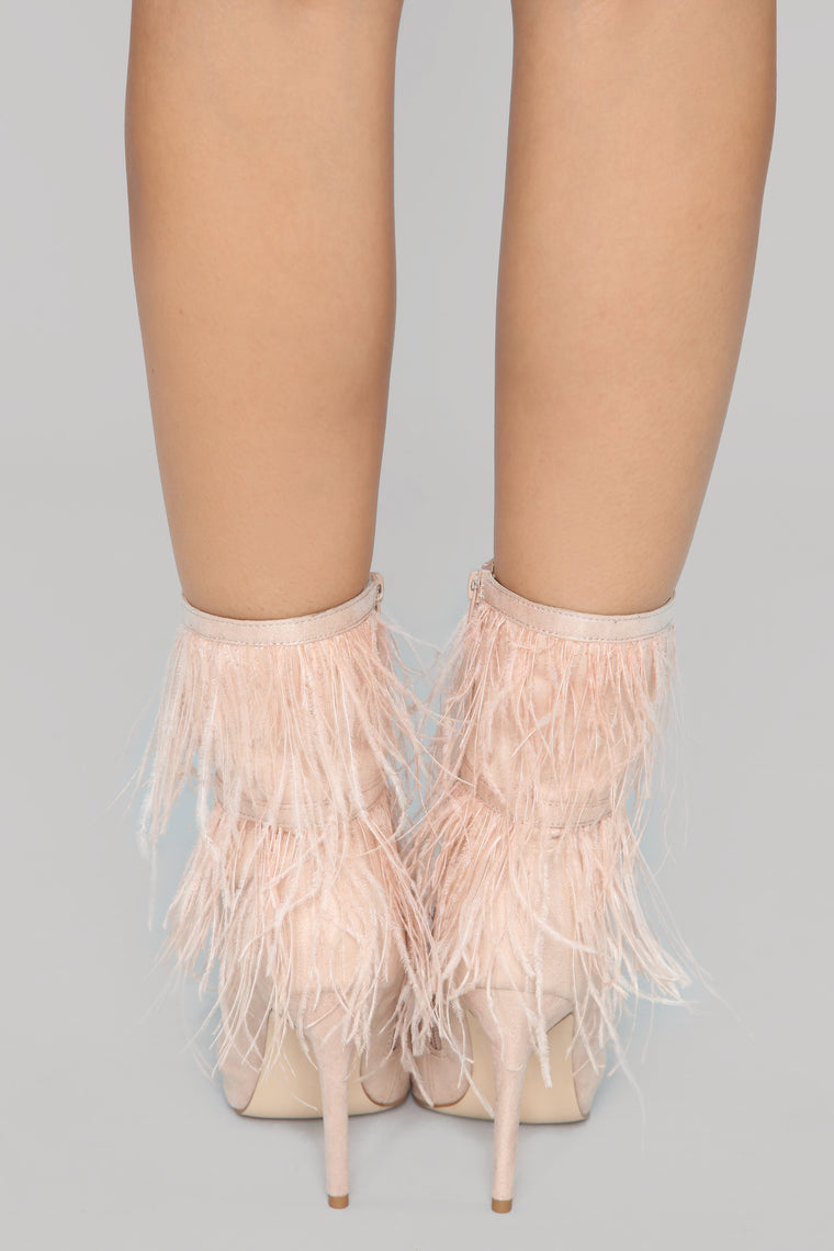 Not Enough Feathers Bootie - Blush