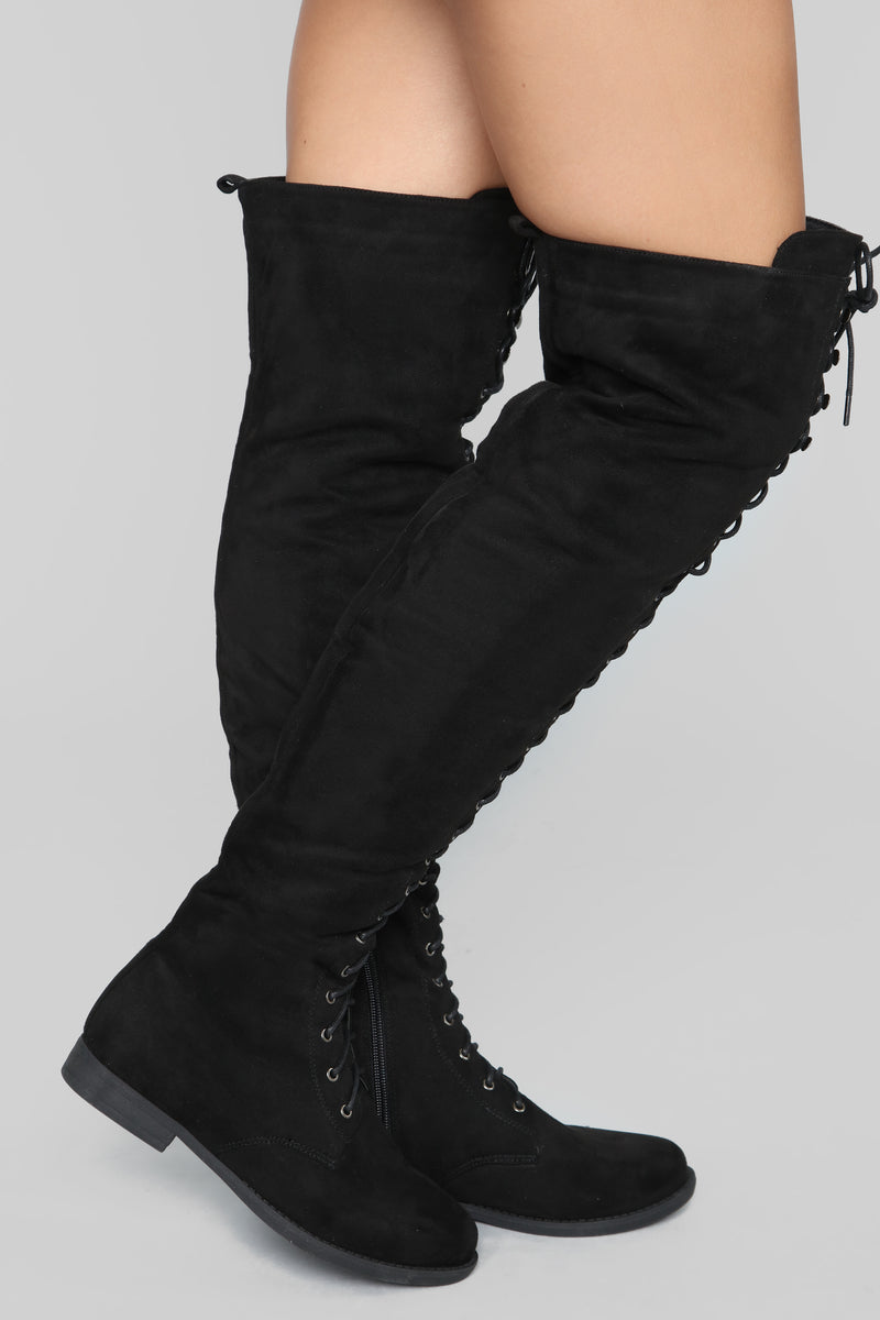 Tall Talk Flat Boot - Black