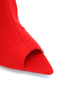 Not Much Longer Heeled Boot - Red